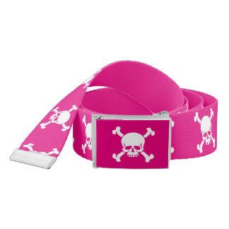 Pink Jolly Roger Skull and Crossbones Pirate Belt