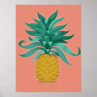 pink Juicy pineapple wall art print