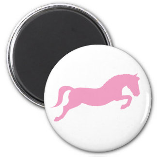Pink Jumping Pony 2 Inch Round Magnet