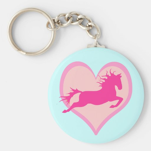Pink Jumping Pony and Heart Basic Round Button Keychain