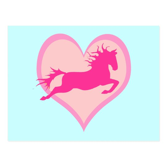 Pink Jumping Pony and Heart Postcard