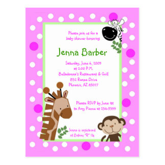 Pink Jungle Adventure Baby Shower Post Card