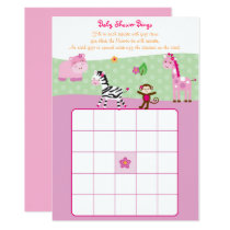 Pink Jungle Animal Baby Bingo Card