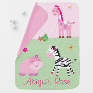 Pink Jungle Animal Baby Blanket