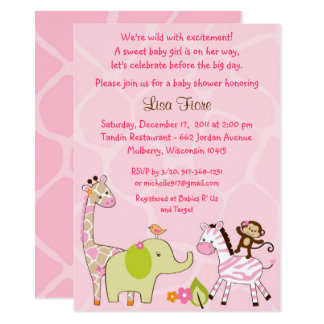 Pink Jungle Animal Baby Shower Card
