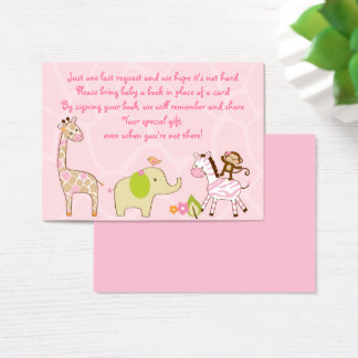 Pink Jungle Animal Book Request Cards