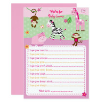 Pink Jungle Animal Wishes for Baby Card