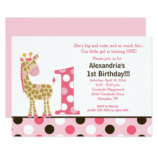 pink jungle giraffe 1st birthday invitation 5x7 zazzle com