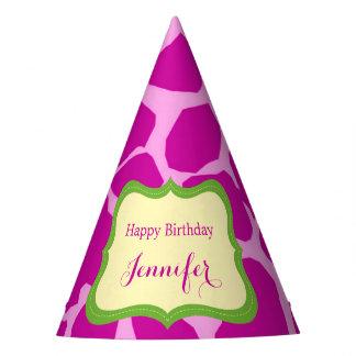 Pink jungle safari animal girl party hat