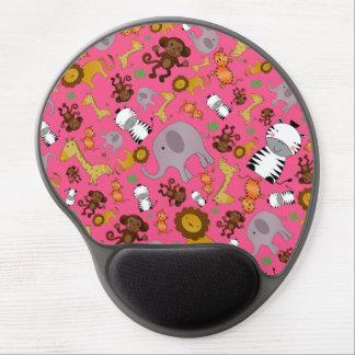 Pink jungle safari animals gel mouse mat