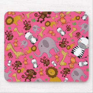 Pink jungle safari animals mousepad
