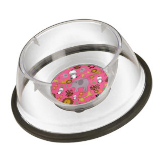 Pink jungle safari animals pet bowl