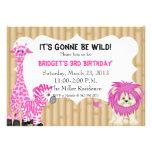 Pink Jungle Safari Birthday Invitation