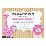 "Pink Jungle Safari Birthday Invitation 4.5"" X 6.25"" Invitation Card"