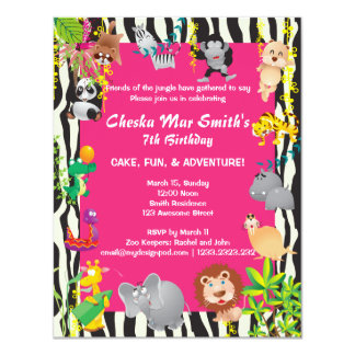 Pink Jungle Safari in Zebra Print Birthday Card
