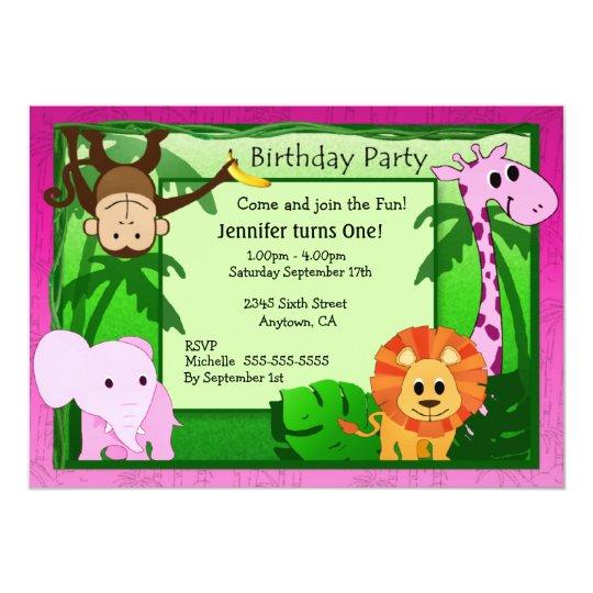 Pink Jungle Theme Kids Birthday Party Invite Zazzle Com