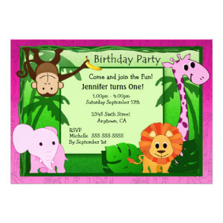 Pink Jungle Theme Kids Birthday Party Invite