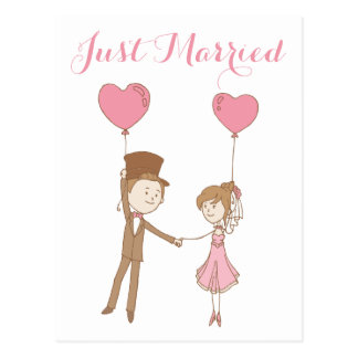 Pink Just Married Bride & Groom Brown Wedding Postcard