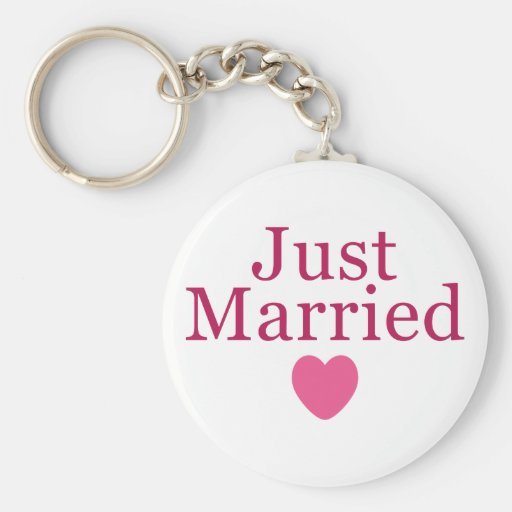 Pink Just Married Key Chains