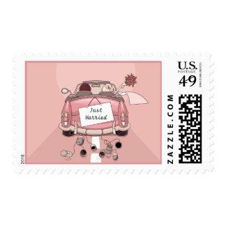 Pink Just Married Wedding Car, Bride & Groom Postage Stamp