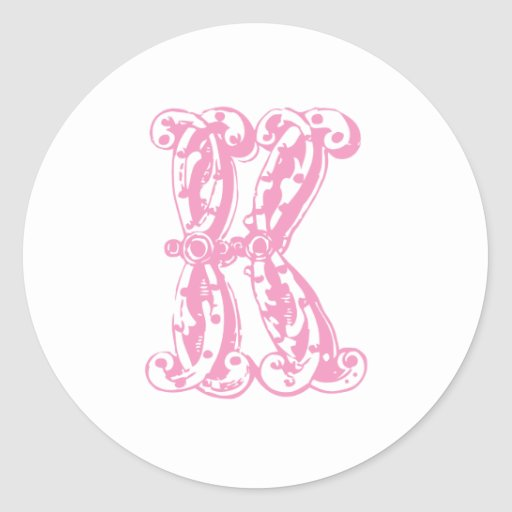 Pink K Monogram Letter Classic Round Sticker