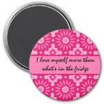 Pink kaleidoscope dieting loving affirmation 3 inch round magnet