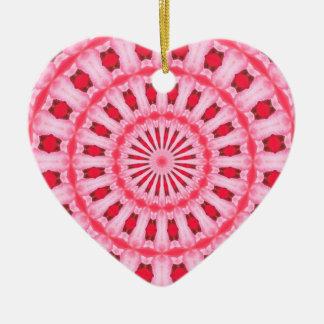 Pink kaleidoscope heart ornament