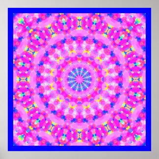 Pink Kaleidoscope Meditation Poster Blue Border