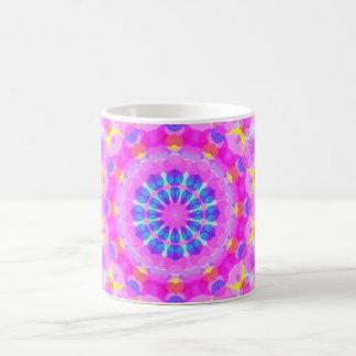 Pink Kaleidoscope Pattern Magenta Blue Yellow Coffee Mug