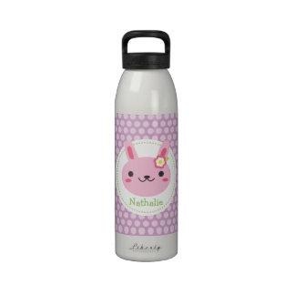 Pink Kawaii Bunny and Polka Dots Drinking Bottles