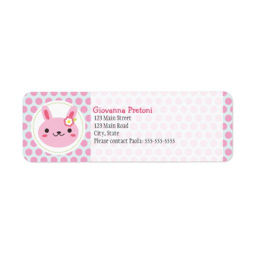 Pink Kawaii Bunny and Polka Dots Return Address Labels