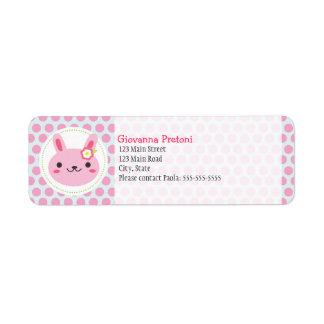 Pink Kawaii Bunny and Polka Dots Label