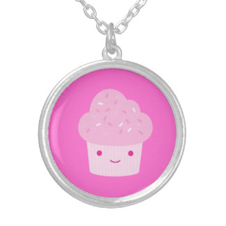 Pink Kawaii Cupcake Silver Plated Necklace