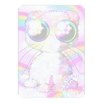 pink kawaii domestic animals with fold ears card