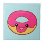 Pink Kawaii Donut, Cute Food Ceramic Tiles