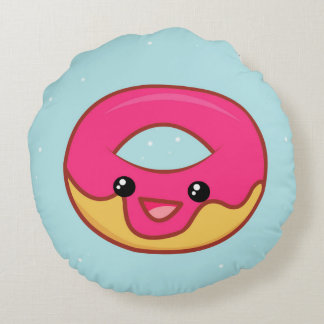 Pink Kawaii Donut, Cute Food Round Pillow