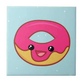 Pink Kawaii Donut, Cute Food Small Square Tile