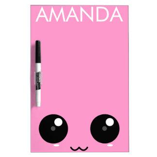 Pink Kawaii Face Dry Erase Board