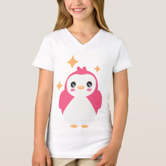 Pink Kawaii Penguin on girls t-shirt
