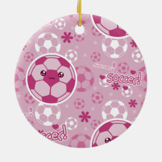 Pink Kawaii Soccer Pattern Ceramic Ornament