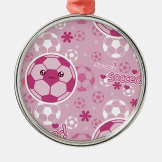 Pink Kawaii Soccer Pattern Metal Ornament
