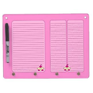 Pink Kawaii Tickle Monster Dry-Erase Whiteboard