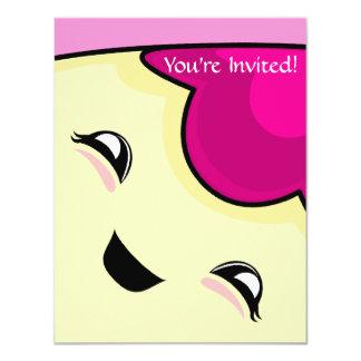 "Pink Kawaii Tickle Monster 4.25"" X 5.5"" Invitation Card"