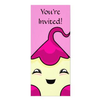 "Pink Kawaii Tickle Monster 4"" X 9.25"" Invitation Card"