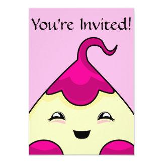 "Pink Kawaii Tickle Monster 5"" X 7"" Invitation Card"
