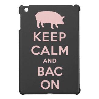 Pink keep calm and bacon iPad mini cover