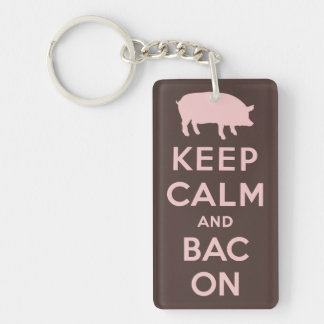 Pink keep calm and bacon keychain