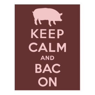 Pink keep calm and bacon postcard