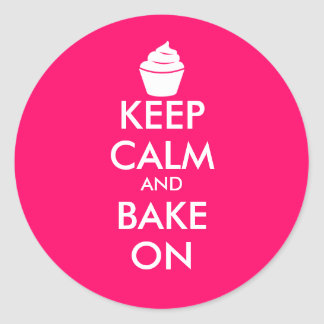 Pink keep calm and bake on stickers with cupcake