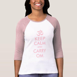 Pink Keep Calm and Carry Om T-Shirt